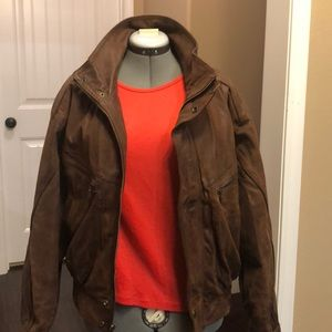 Leather bomber jacket.